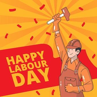 Thème de la fête du travail dessiné à la main