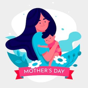 Thème de la fête des mères design plat