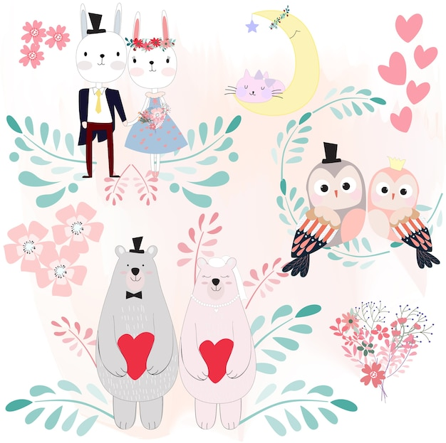 Thème de la fleur printanière de dessin animé animal mignon