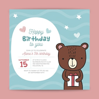 Thème de flyer d'anniversaire pour enfants