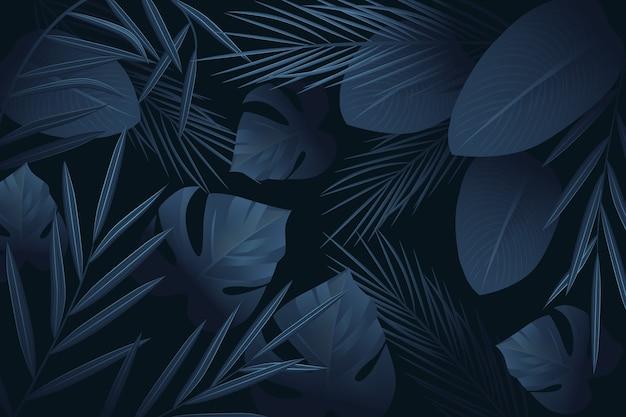 Thème de fond d'écran réaliste feuilles tropicales sombres