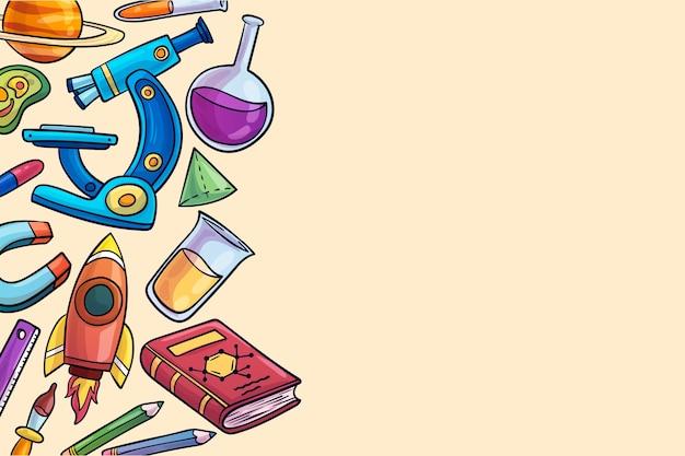 Thème de fond de l'enseignement des sciences dessiné à la main