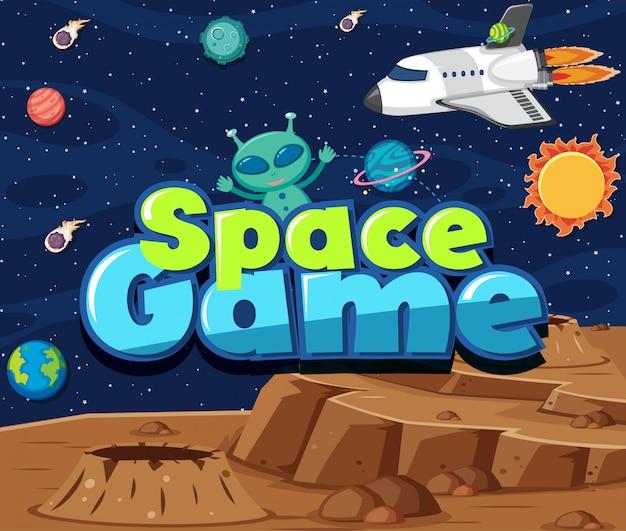 Thème de fond de l'espace avec extraterrestre et fusée