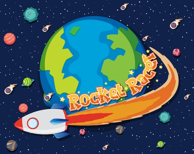 Thème de fond de l'espace avec une fusée volant autour de la terre