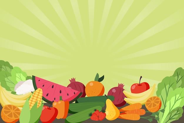 Thème de fond de fruits et légumes