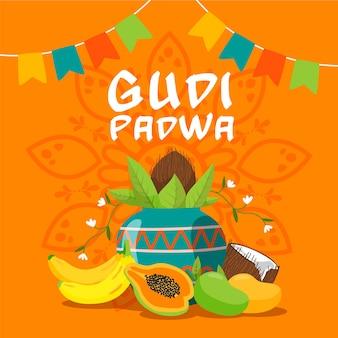 Thème gudi padwa dessiné à la main