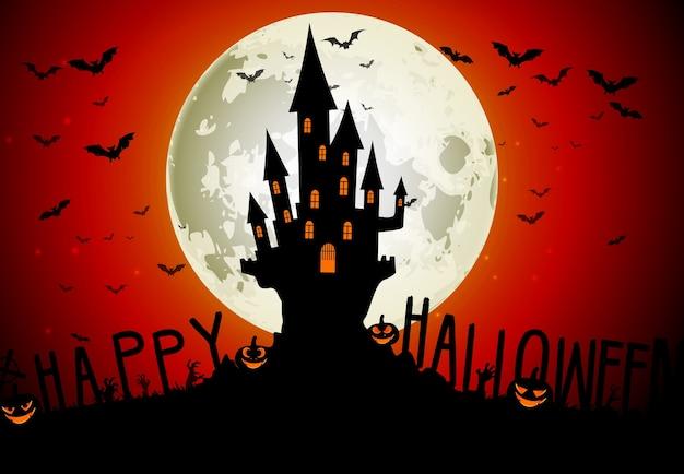 Thème de l'halloween avec maison effrayante sur fond de pleine lune