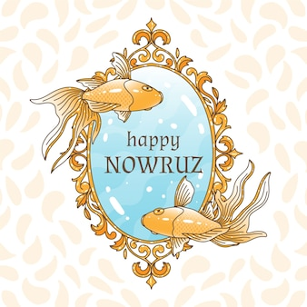 Thème happy nowruz day dessiné à la main