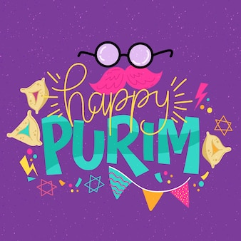 Thème happy purim day dessiné à la main