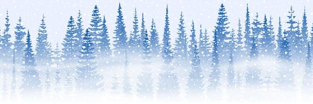 Thème d'hiver, chute de neige, forêt et blizzard, illustration vectorielle, bannière