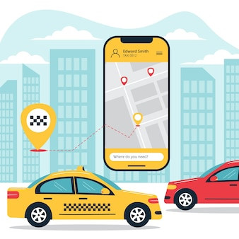 Thème d'illustration de concept d'application de taxi