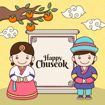 Thème d'illustration du festival chuseok dessiné à la main