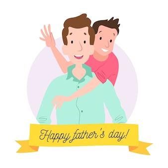 Thème d'illustration de la fête des pères dessiné à la main