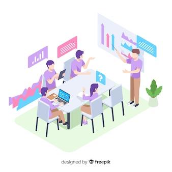 Thème d'illustration avec des personnes en réunion