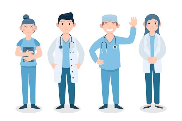 Thème illustré de l'équipe de professionnels de la santé