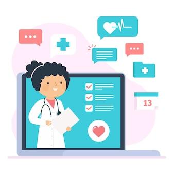 Thème illustré de médecin en ligne