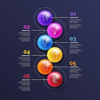 Thème infographique brillant 3d