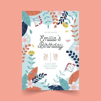 Thème d'invitation d'anniversaire floral