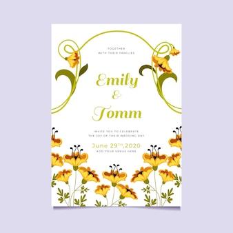 Thème d'invitation de mariage floral