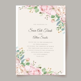 Thème d'invitation de mariage de roses élégantes