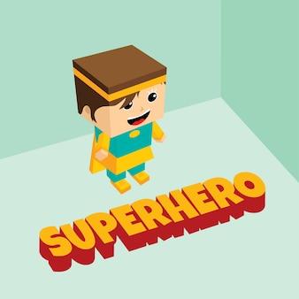 Thème isométrique incroyable de super-héros féminin
