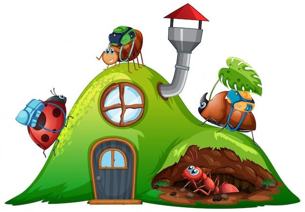 Thème de jardinage avec des insectes dans leur maison