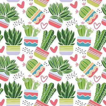 Thème de jeu de motifs de cactus