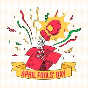 Thème de la journée du poisson d'avril dessiné à la main