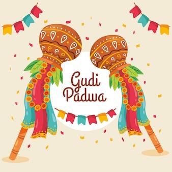 Thème de la journée gudi padwa dessiné à la main