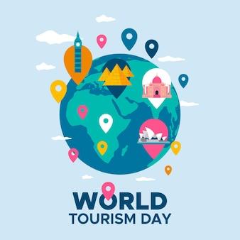 Thème de la journée mondiale du tourisme design plat