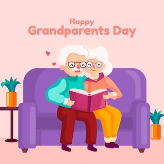 Thème de la journée nationale des grands-parents design plat
