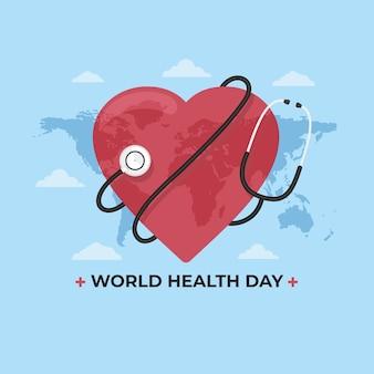Thème de la journée de la santé au design plat