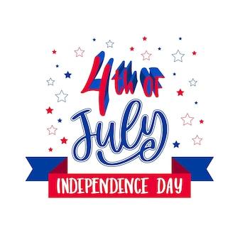 Thème de lettrage de la fête de l'indépendance