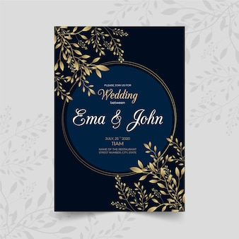 Thème de luxe pour modèle d'invitation de mariage