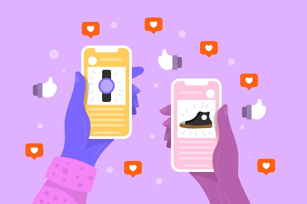 Thème de marketing des médias sociaux avec mobile