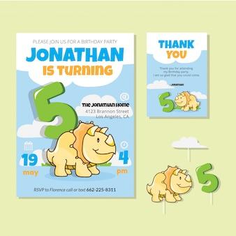 Thème mignon de dinosaure 5ème carte d'invitation de fête d'anniversaire