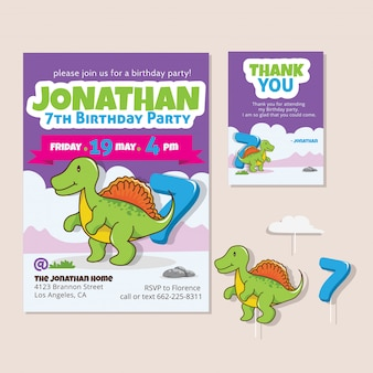 Thème mignon de dinosaure 7ème carte d'invitation de fête d'anniversaire