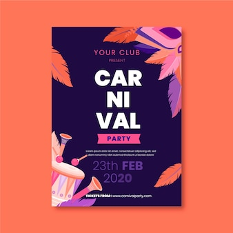 Thème de modèle d'affiche fête carnaval design plat