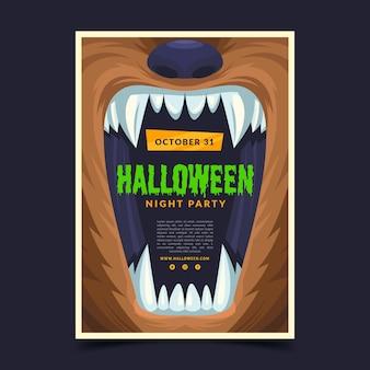Thème de modèle d'affiche halloween design plat