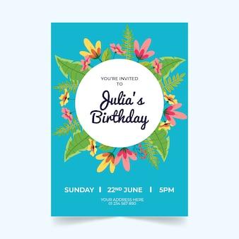Thème de modèle de carte d'anniversaire floral