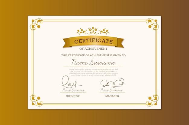 Thème de modèle de certificat élégant