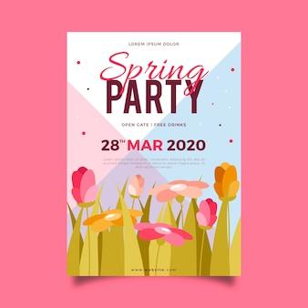 Thème de modèle de flyer de fête de printemps design plat