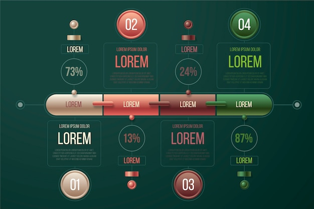 Thème de modèle d'infographie brillant 3d