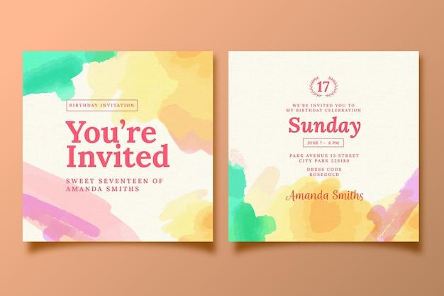 Thème de modèle d'invitation d'anniversaire élégant