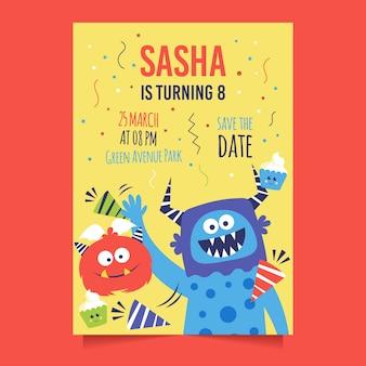 Thème de modèle d'invitation de carte d'anniversaire