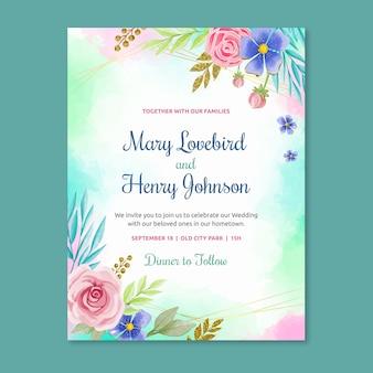 Thème de modèle d'invitation de mariage floral