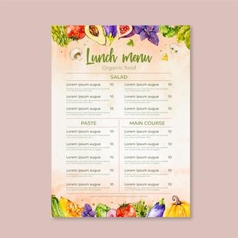 Thème de modèle de menu de restaurant aquarelle