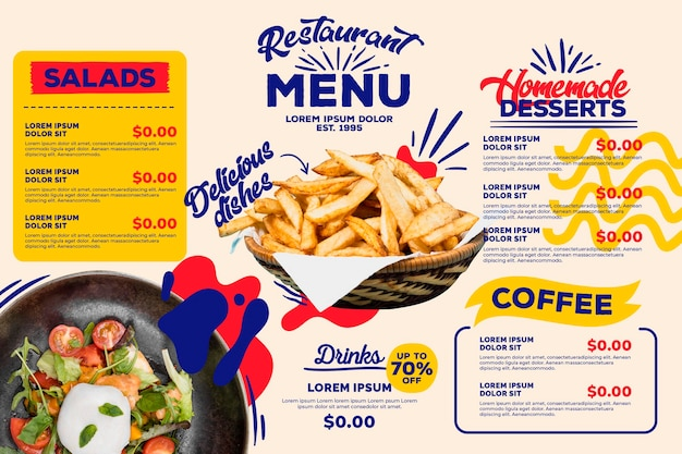 Thème de modèle de menu de restaurant numérique