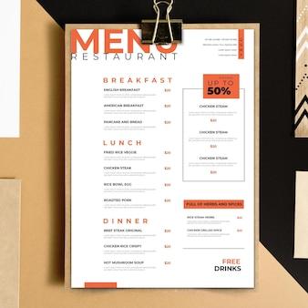 Thème de modèle de menu de restaurant