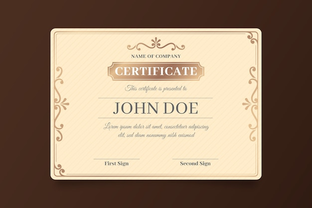 Thème de modèle de réussite de certificat élégant